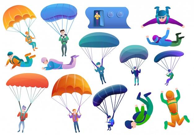 Fallschirmspringer eingestellt, cartoon-stil Premium Vektoren