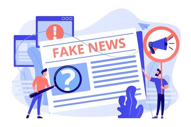 Falsche informationsübertragung. presse, zeitungsjournalisten, redakteure. gefälschte nachrichten, junk-news-inhalte, desinformation in der illustration von medienkonzepten Kostenlosen Vektoren