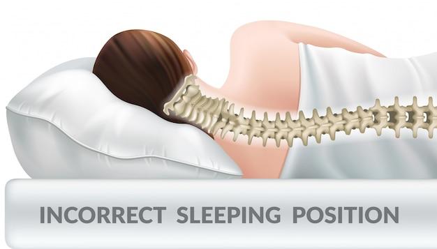 Falsche schlafhaltung auf normalem kissen. Kostenlosen Vektoren