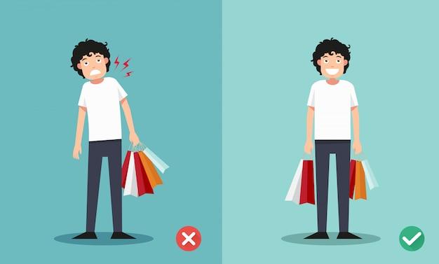Falsche und richtige möglichkeiten, einkaufstaschen zu halten Premium Vektoren