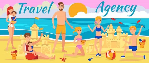 Familie am strand ausruhen Premium Vektoren