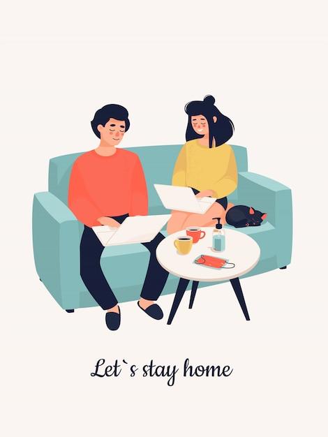 Familie arbeitet an laptops in einem sofa und text lass uns zu hause bleiben. Premium Vektoren