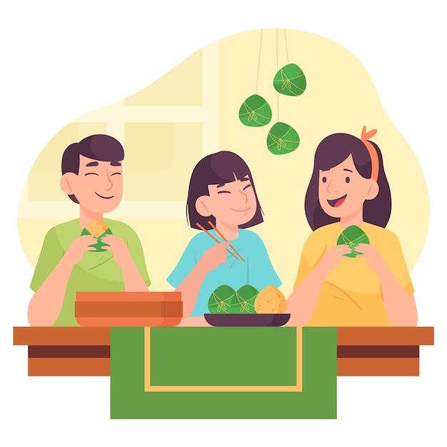 Familie bereitet zongzi vor Kostenlosen Vektoren