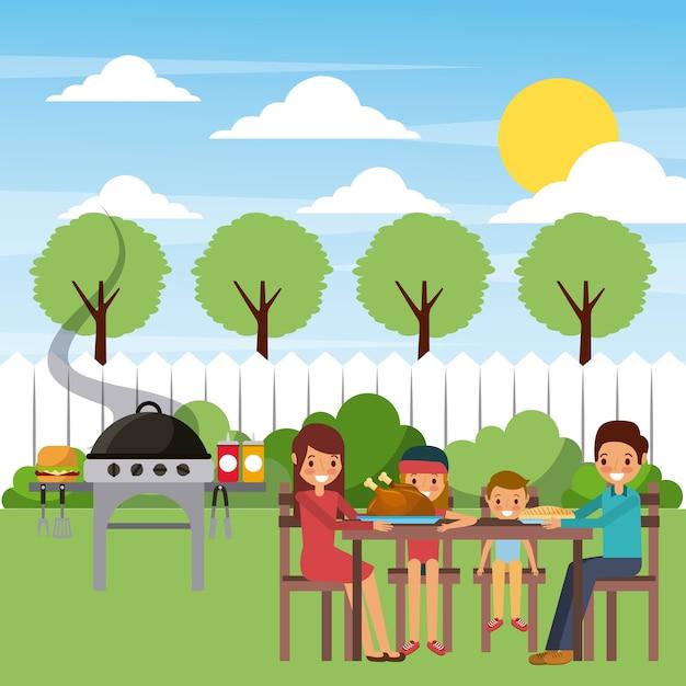 Familie, die abendessen im garten mit heißem lebensmittel des grills isst Premium Vektoren