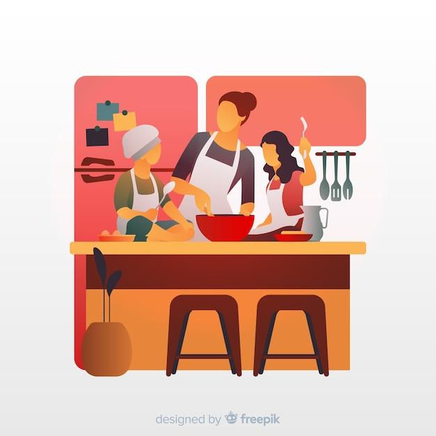 Familie, die an der küche kocht Kostenlosen Vektoren