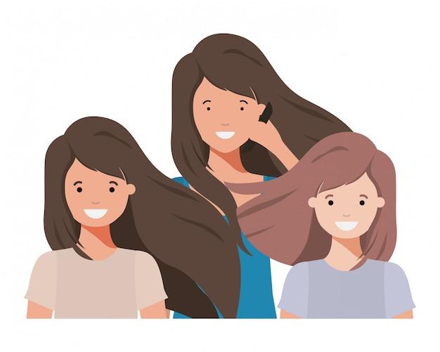 Familie, die avataracharakter lächelt und wellenartig bewegt Premium Vektoren