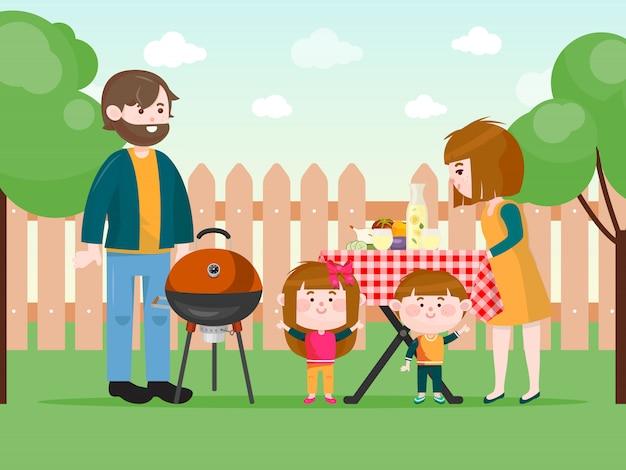 Familie, die einen grill auf hinterhofillustration hat. Premium Vektoren