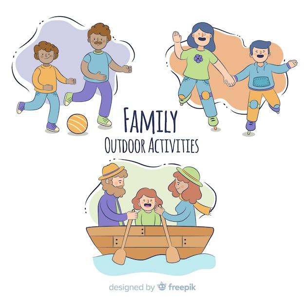 Familie, die im freientätigkeiten tut Kostenlosen Vektoren