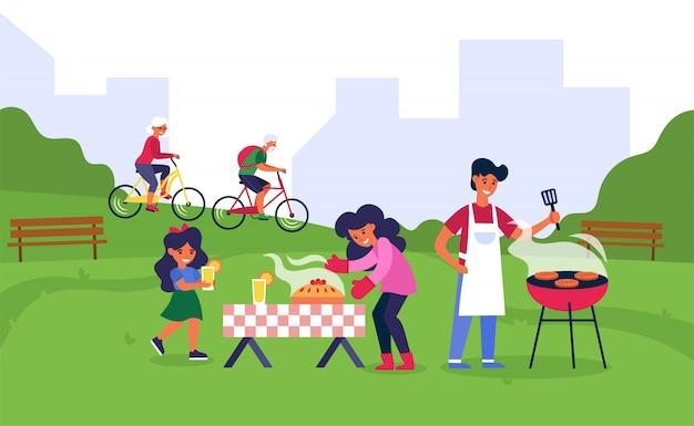 Familie, die im öffentlichen park grillt Kostenlosen Vektoren