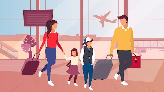 Familie, die mit dem flugzeug illustration reist. Premium Vektoren