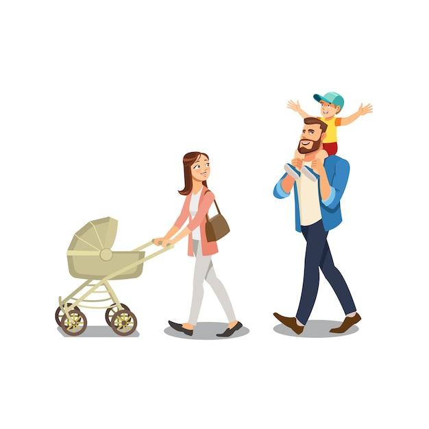 Familie, die mit kindern lokalisiertem karikatur-vektor schlendert Premium Vektoren