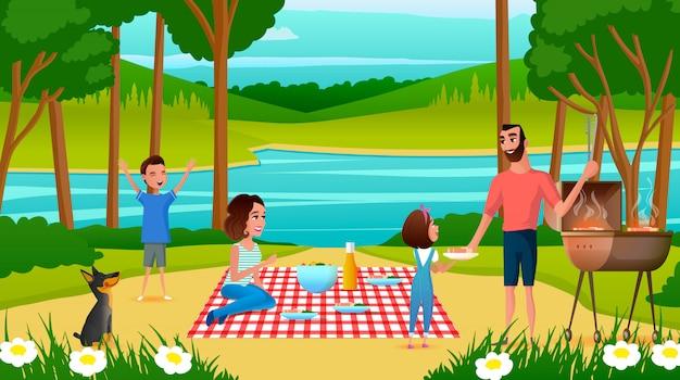 Familie, die spaß auf picknick-karikatur-vektor hat Premium Vektoren