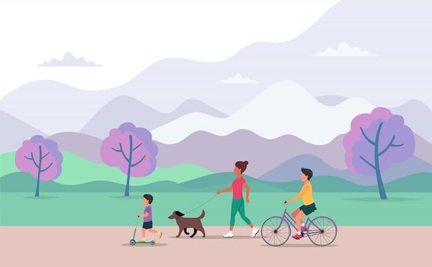 Familie, die verschiedene im freientätigkeiten im park tut Premium Vektoren