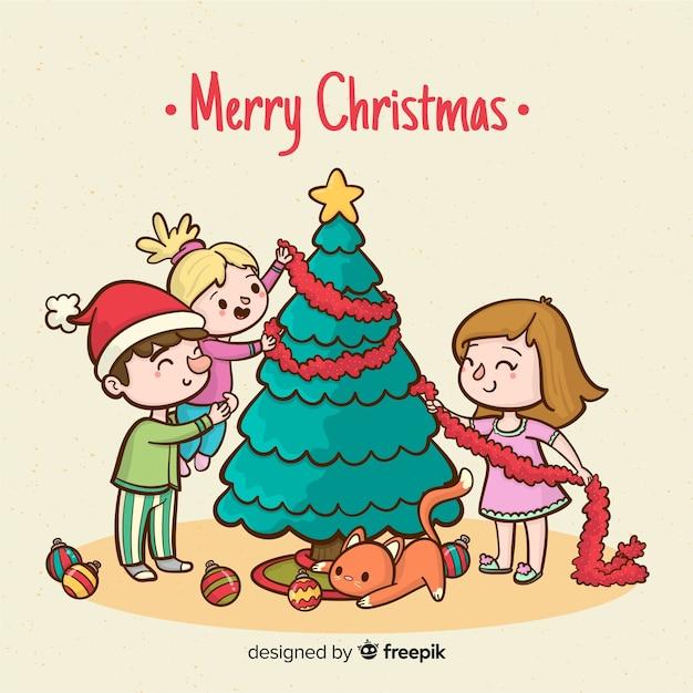 Familie, die weihnachtsbaum-weihnachtshintergrund verziert Kostenlosen Vektoren