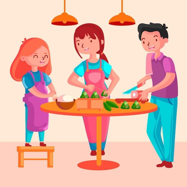Familie, die zongzi für das festival vorbereitet und isst Kostenlosen Vektoren