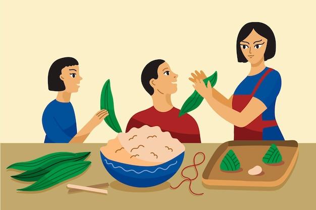 Familie, die zongzi vorbereitet und isst Kostenlosen Vektoren