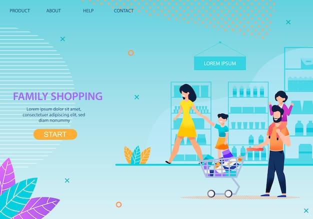 Familie, die zusammen landing page template kauft Premium Vektoren