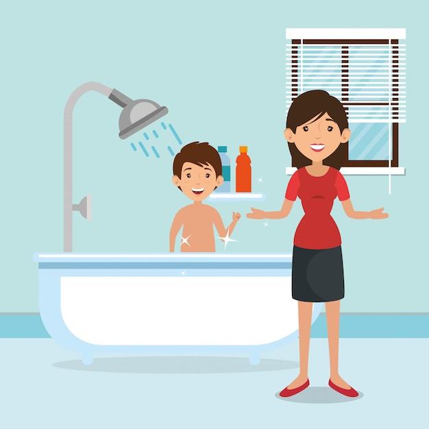 Familie eltern im badezimmer mit wannenszene Kostenlosen Vektoren