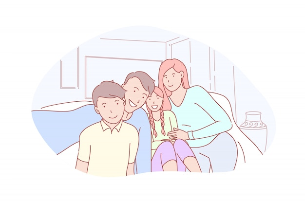 Familie, elternschaft, kindheit, selfie illustration Premium Vektoren