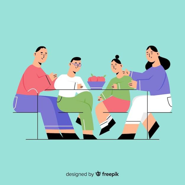 Familie essen Kostenlosen Vektoren