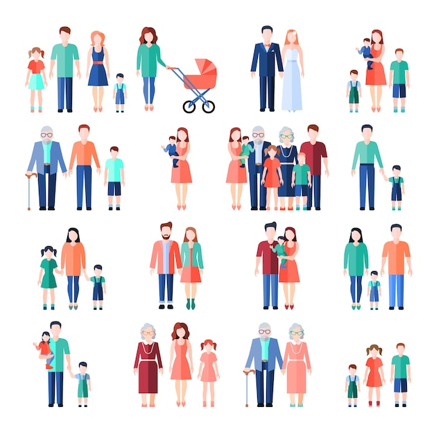 Familie flache artbilder eingestellt Kostenlosen Vektoren