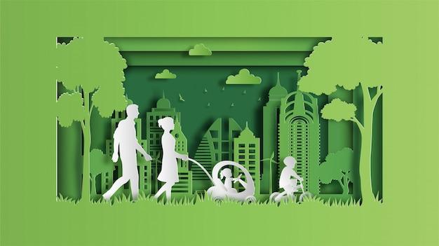 Familie genießt frische luft im park Premium Vektoren