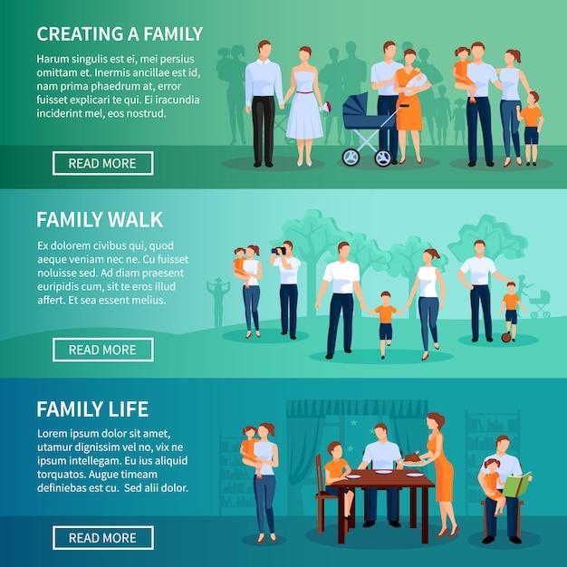 Familie horizontale banner gesetzt Kostenlosen Vektoren