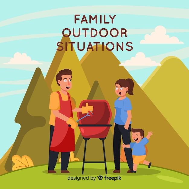 Familie im freien Kostenlosen Vektoren