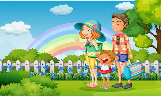 Familie im park am regenbogentag Premium Vektoren