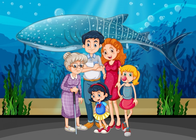 Familie in der aquariumszene oder -hintergrund Kostenlosen Vektoren