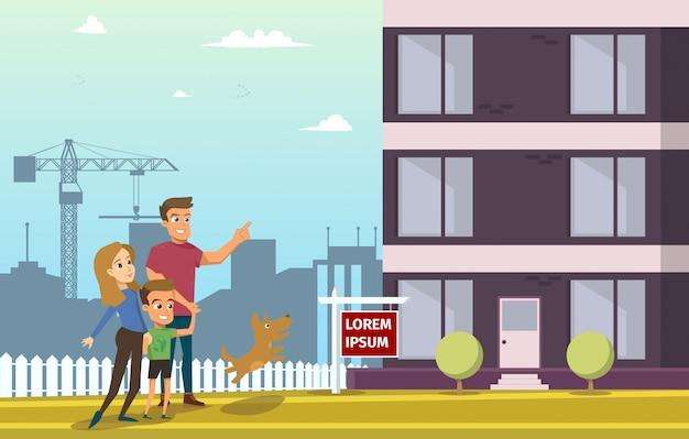 Familie kaufen immobilien haus Premium Vektoren