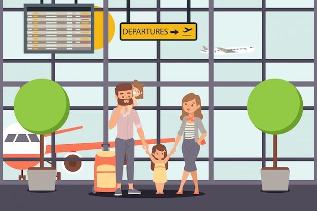 Familie machen urlaub, flughafen abflug illustration. glücklicher elterncharakter mit kindern, töchtern vor dem reiseflug. Premium Vektoren