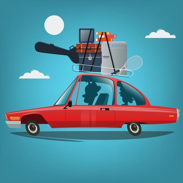 Familie mit dem auto in den urlaub fahren Premium Vektoren
