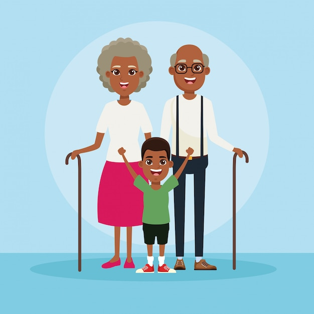 Familie mit kinderkarikatur Premium Vektoren