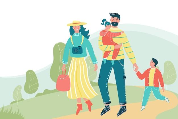Familie mit kindern, die im park mit einem platz für ihren text spazieren gehen. Premium Vektoren