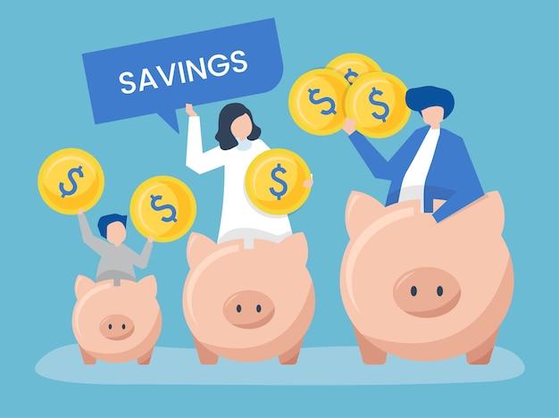 Familie mit spar- und sparschweinikonenillustration Kostenlosen Vektoren