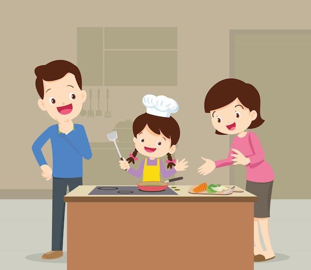 Familie und tochter kochen Premium Vektoren