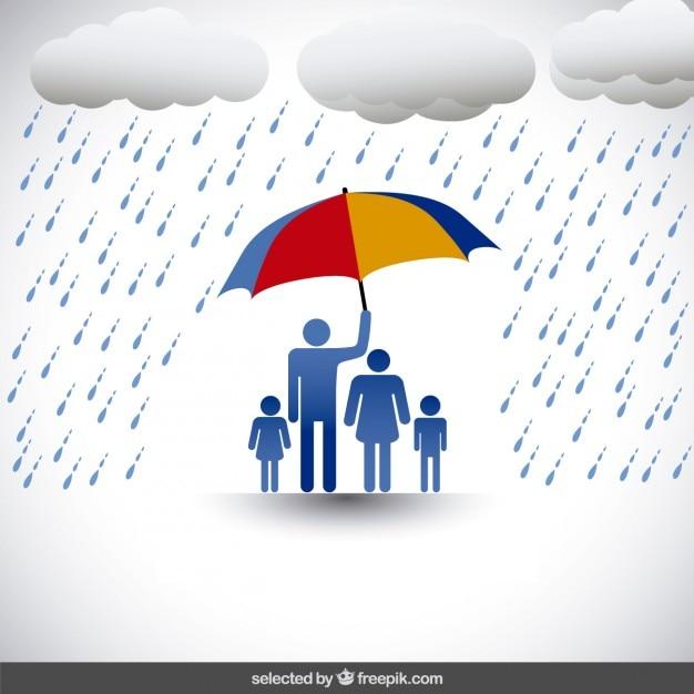 familie unter regenschirm  kostenlose vektor