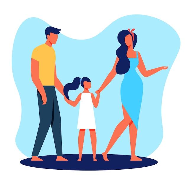 Familie vater mutter und tochter mit bloßen füßen. Premium Vektoren