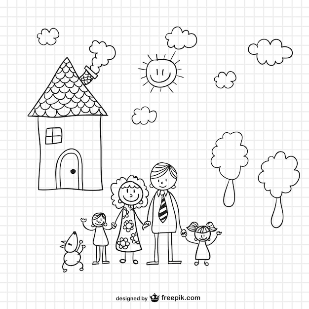 Photo To Line Art Converter Free Download : Familie vektor illustration download der kostenlosen