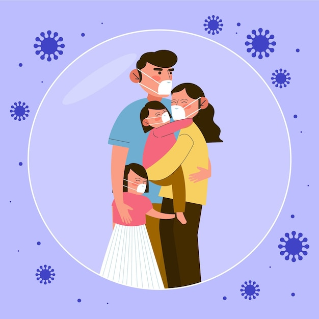 Familie vor dem virus geschützt Kostenlosen Vektoren