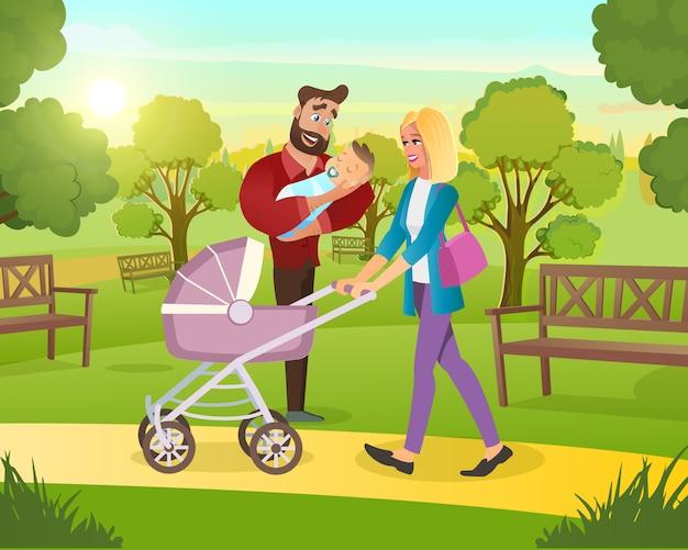 Familie zu fuß im park mit kind in frischer luft Premium Vektoren