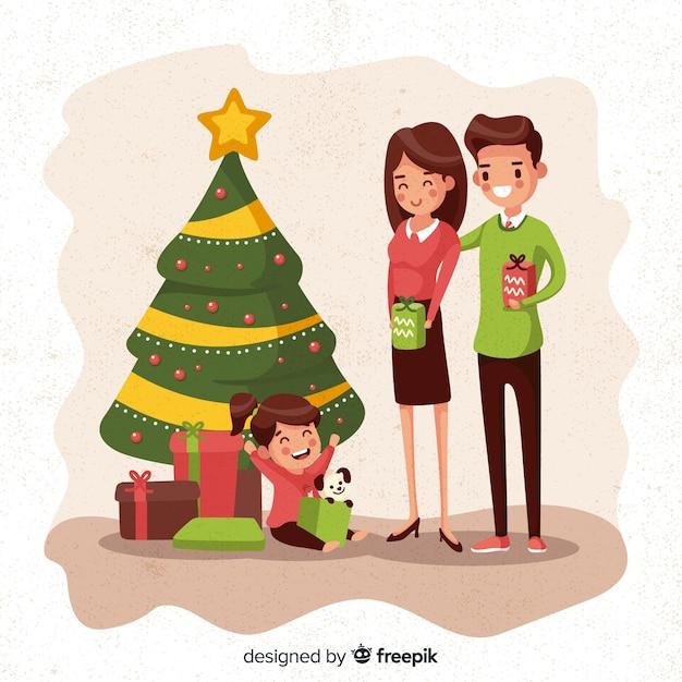 Familie zu weihnachten Kostenlosen Vektoren