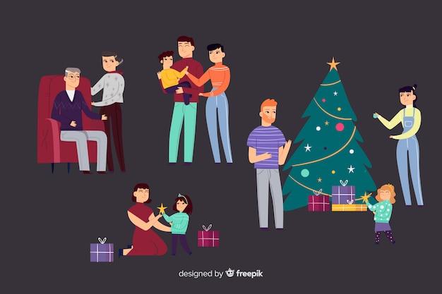 Familie zur weihnachtszeit Kostenlosen Vektoren