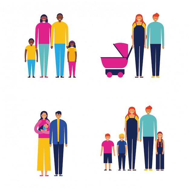 Familie zusammen im freien Kostenlosen Vektoren