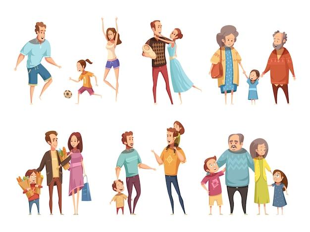 Familien-cartoon-set Kostenlosen Vektoren