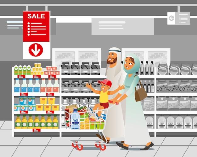 Familien-einkaufen im verkauf karikatur-vektor-konzept Premium Vektoren