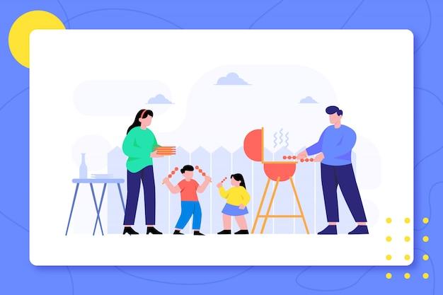 Familien-grill in der hinterhof-zusammen design-illustration Premium Vektoren
