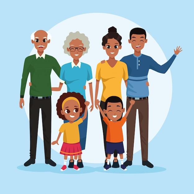Familien-großeltern, eltern und kinder-cartoons Kostenlosen Vektoren
