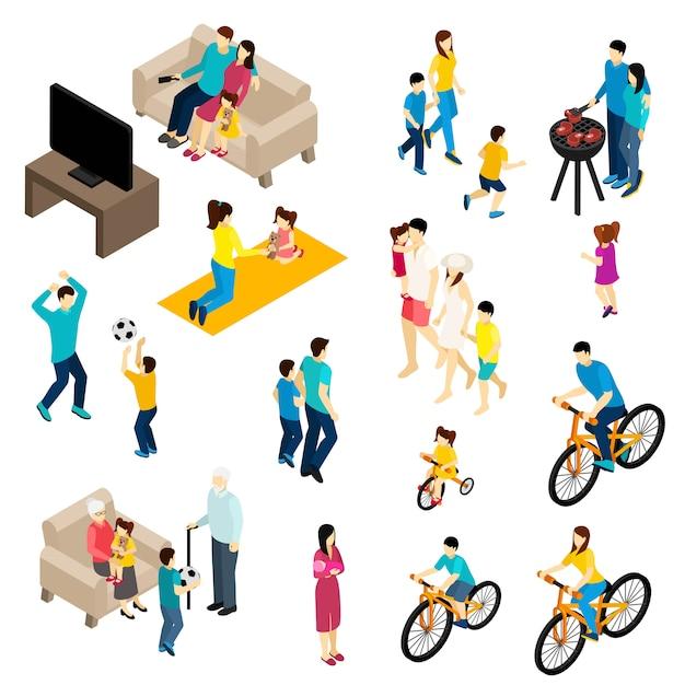 Familien-isometrie-set Kostenlosen Vektoren